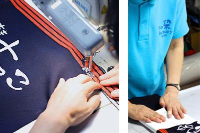 反物で染め上げた布を、帆前掛けの仕様に仕立て上げます。